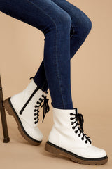 1 About A Girl White Combat Boots at reddressboutique.com