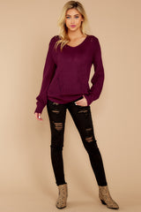 1 Time For This Burgundy Sweater at reddressboutique.com