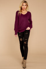2 Time For This Burgundy Sweater at reddressboutique.com