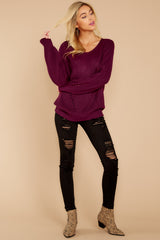 3 Time For This Burgundy Sweater at reddressboutique.com