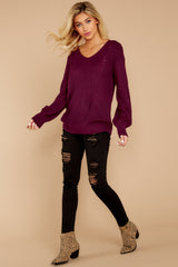 4 Time For This Burgundy Sweater at reddressboutique.com