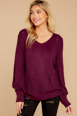 5 Time For This Burgundy Sweater at reddressboutique.com