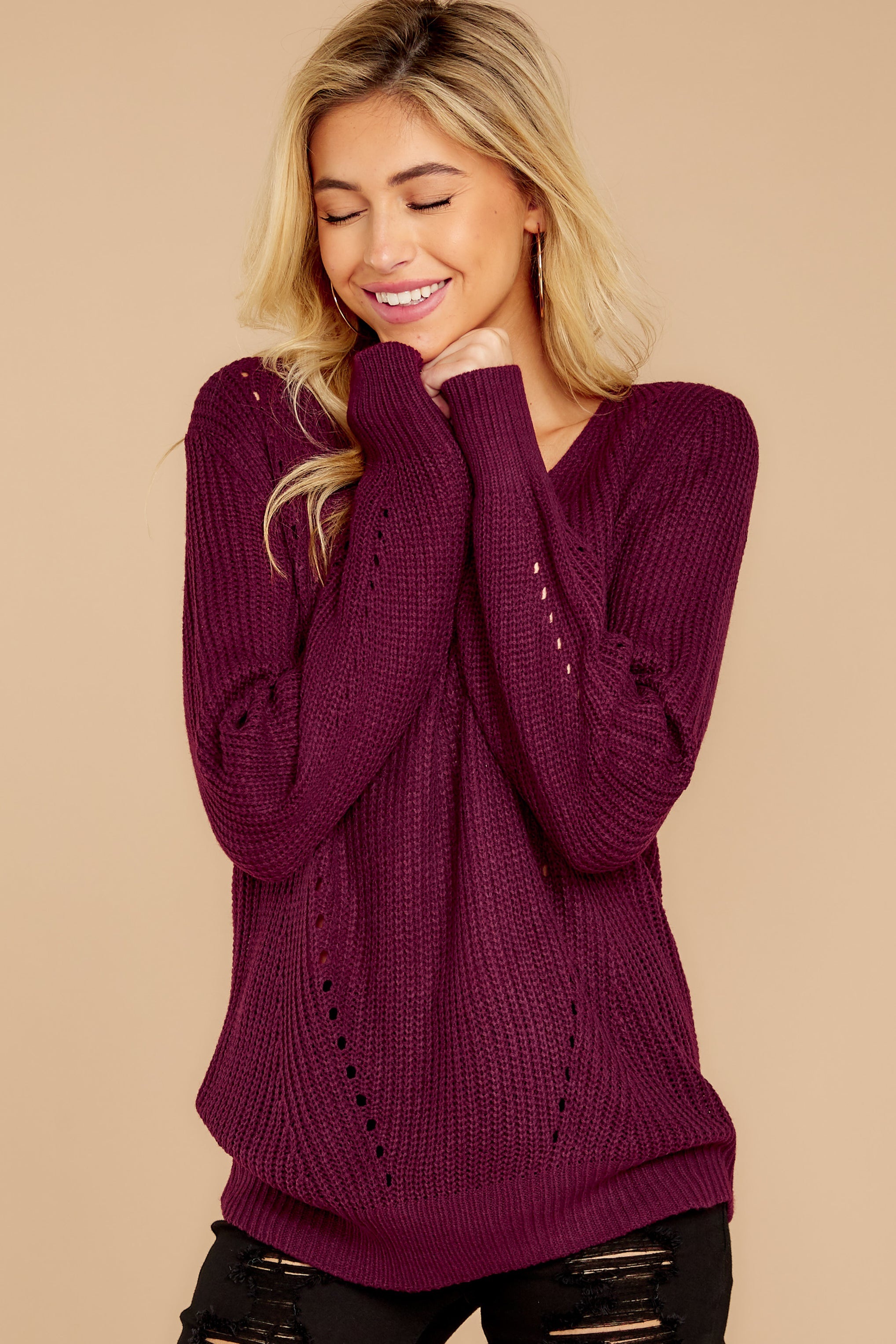 7 Time For This Burgundy Sweater at reddressboutique.com