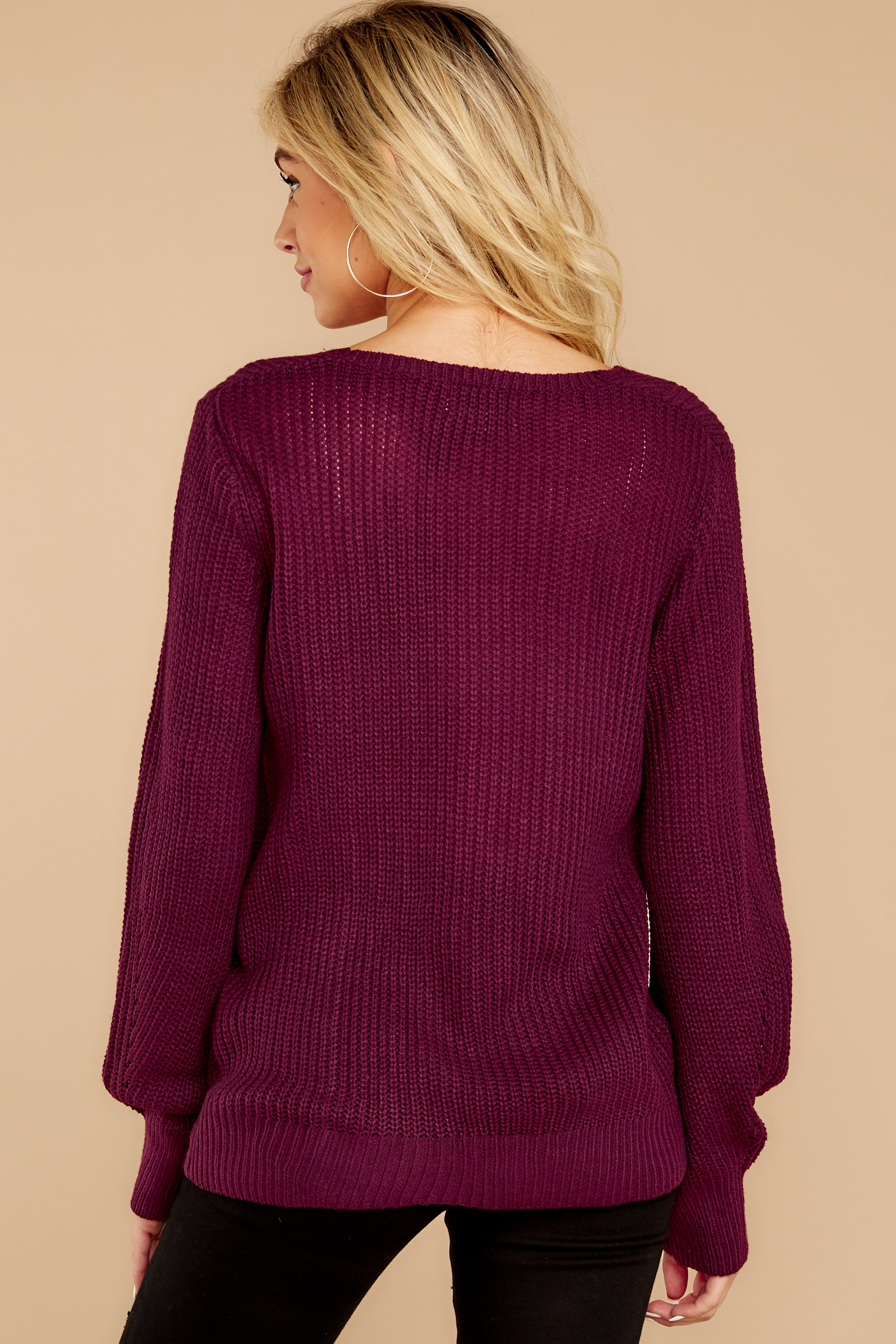8 Time For This Burgundy Sweater at reddressboutique.com