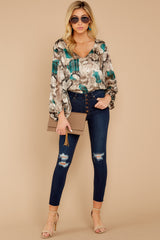 1 For The Bold Teal Multi Snake Print Bodysuit at reddressboutique.com