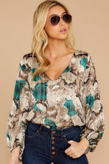 4 For The Bold Teal Multi Snake Print Bodysuit at reddressboutique.com