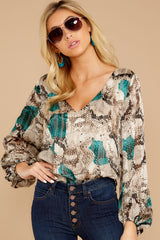 7 For The Bold Teal Multi Snake Print Bodysuit at reddressboutique.com