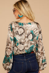 8 For The Bold Teal Multi Snake Print Bodysuit at reddressboutique.com