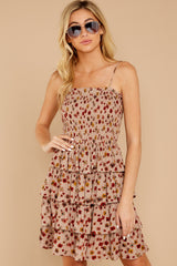 2 Petals Of Fall Taupe Floral Print Dress at reddressboutique.com
