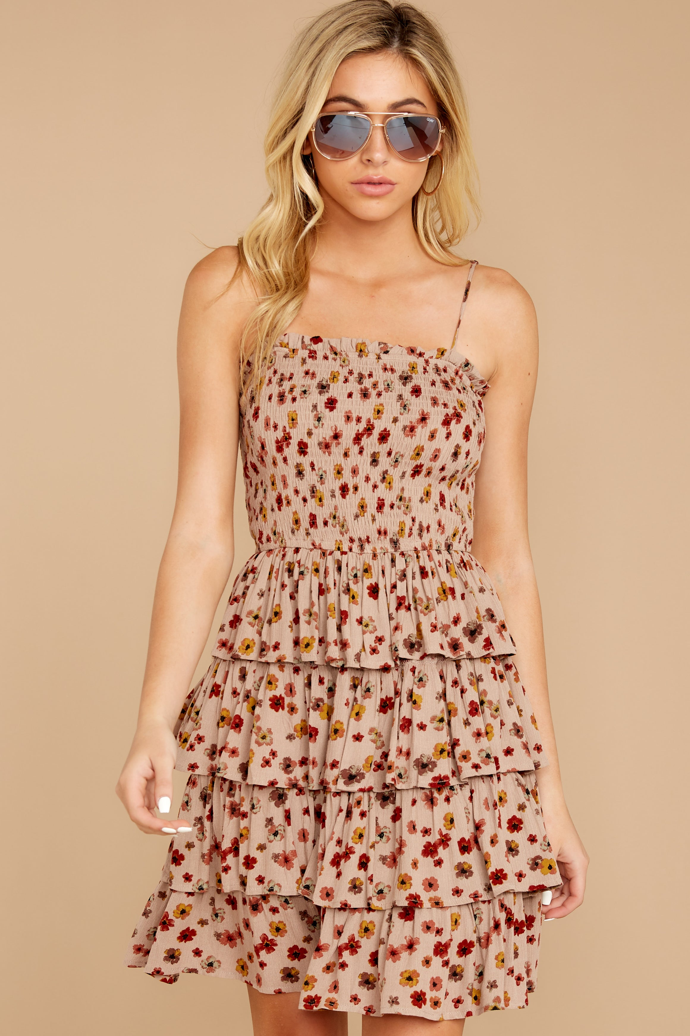 3 Petals Of Fall Taupe Floral Print Dress at reddressboutique.com