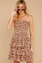 4 Petals Of Fall Taupe Floral Print Dress at reddressboutique.com