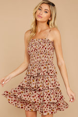 1 Petals Of Fall Taupe Floral Print Dress at reddressboutique.com