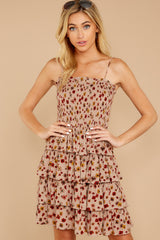 5 Petals Of Fall Taupe Floral Print Dress at reddressboutique.com