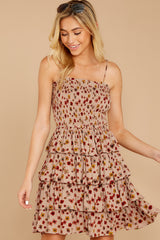 6 Petals Of Fall Taupe Floral Print Dress at reddressboutique.com