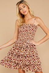 7 Petals Of Fall Taupe Floral Print Dress at reddressboutique.com