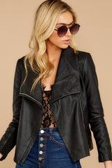 7 Throwback And Smile Black Vegan Leather Jacket at reddressboutique.com