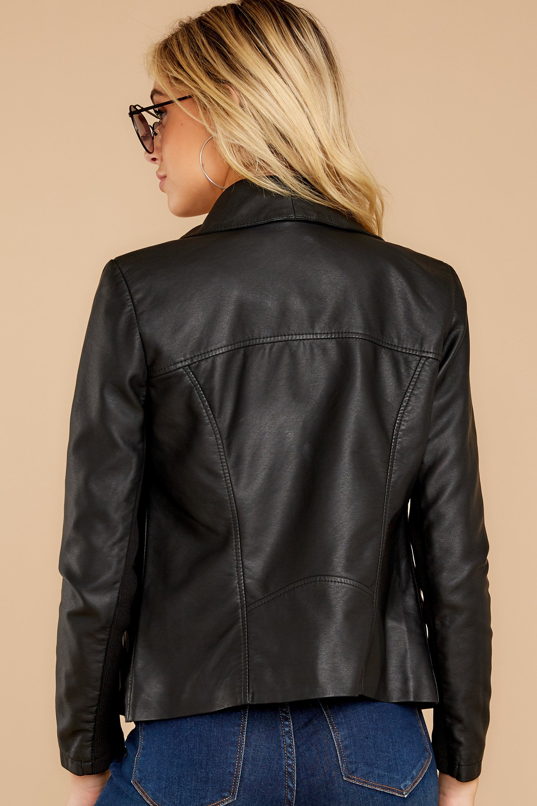 9 Throwback And Smile Black Vegan Leather Jacket at reddressboutique.com