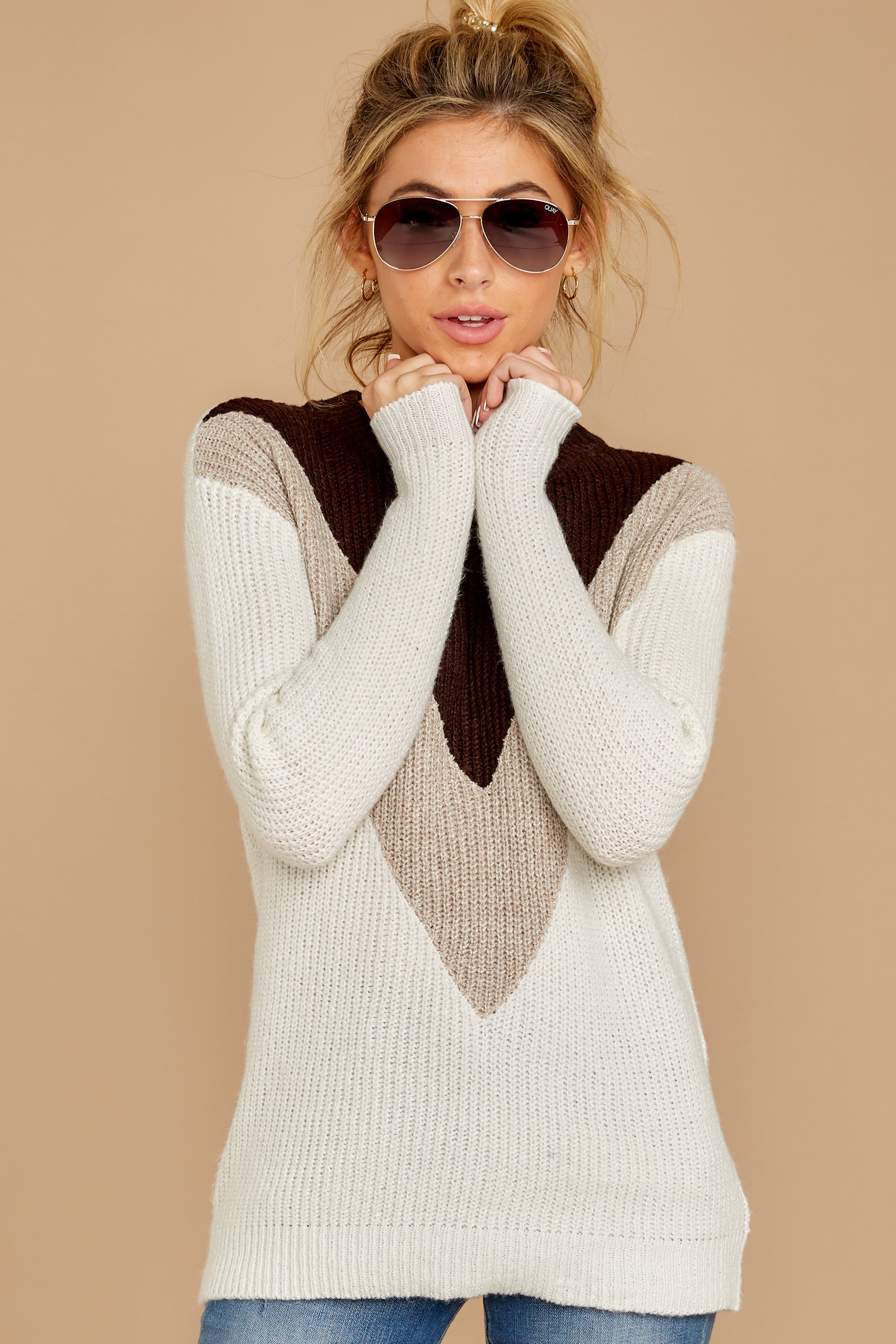 Catching Love Ivory Chevron Sweater