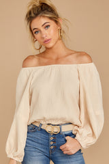 1 State The Obvious Cream Off The Shoulder Top at reddressboutique.com