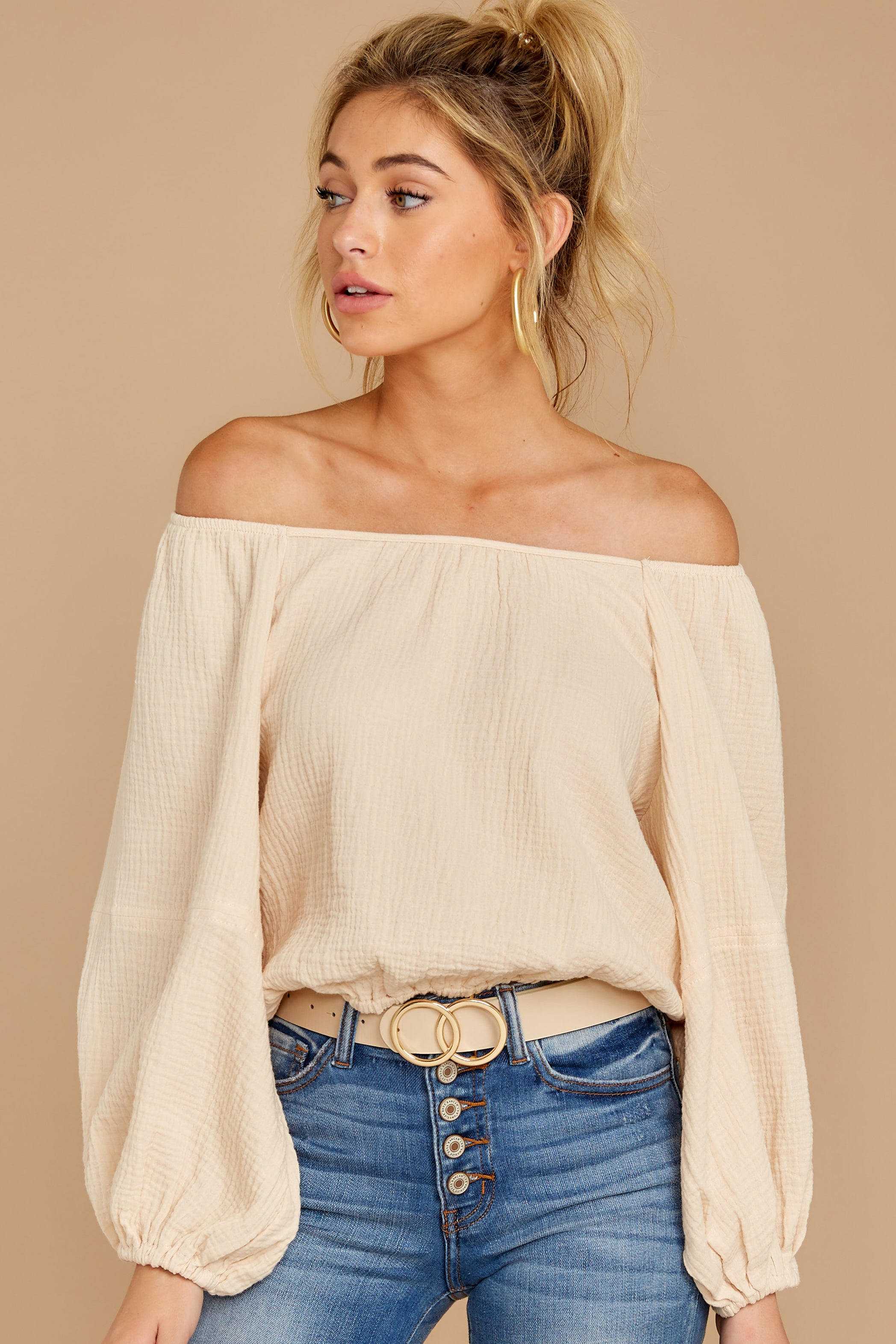 6 State The Obvious Cream Off The Shoulder Top at reddressboutique.com