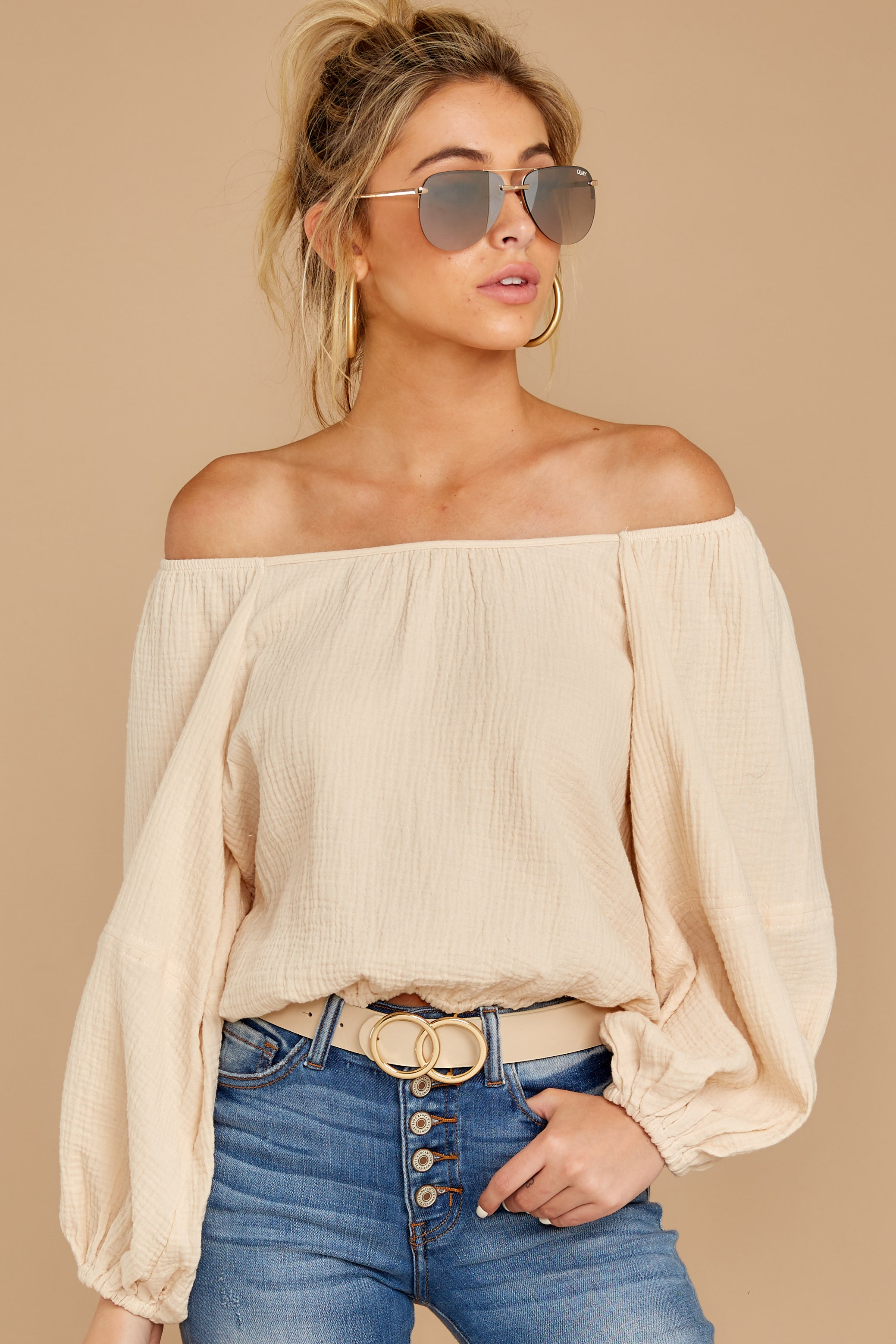 7 State The Obvious Cream Off The Shoulder Top at reddressboutique.com