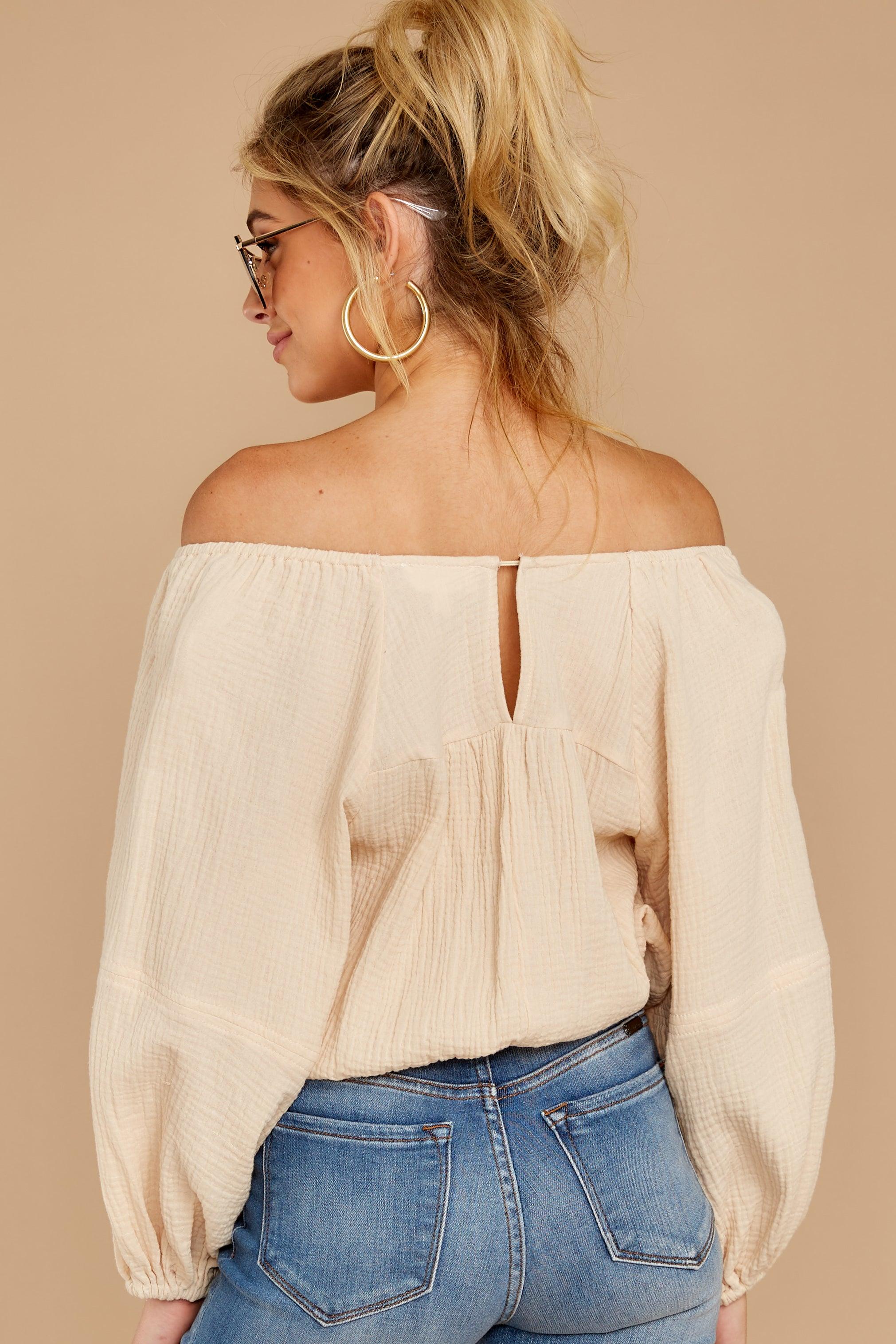 8 State The Obvious Cream Off The Shoulder Top at reddressboutique.com