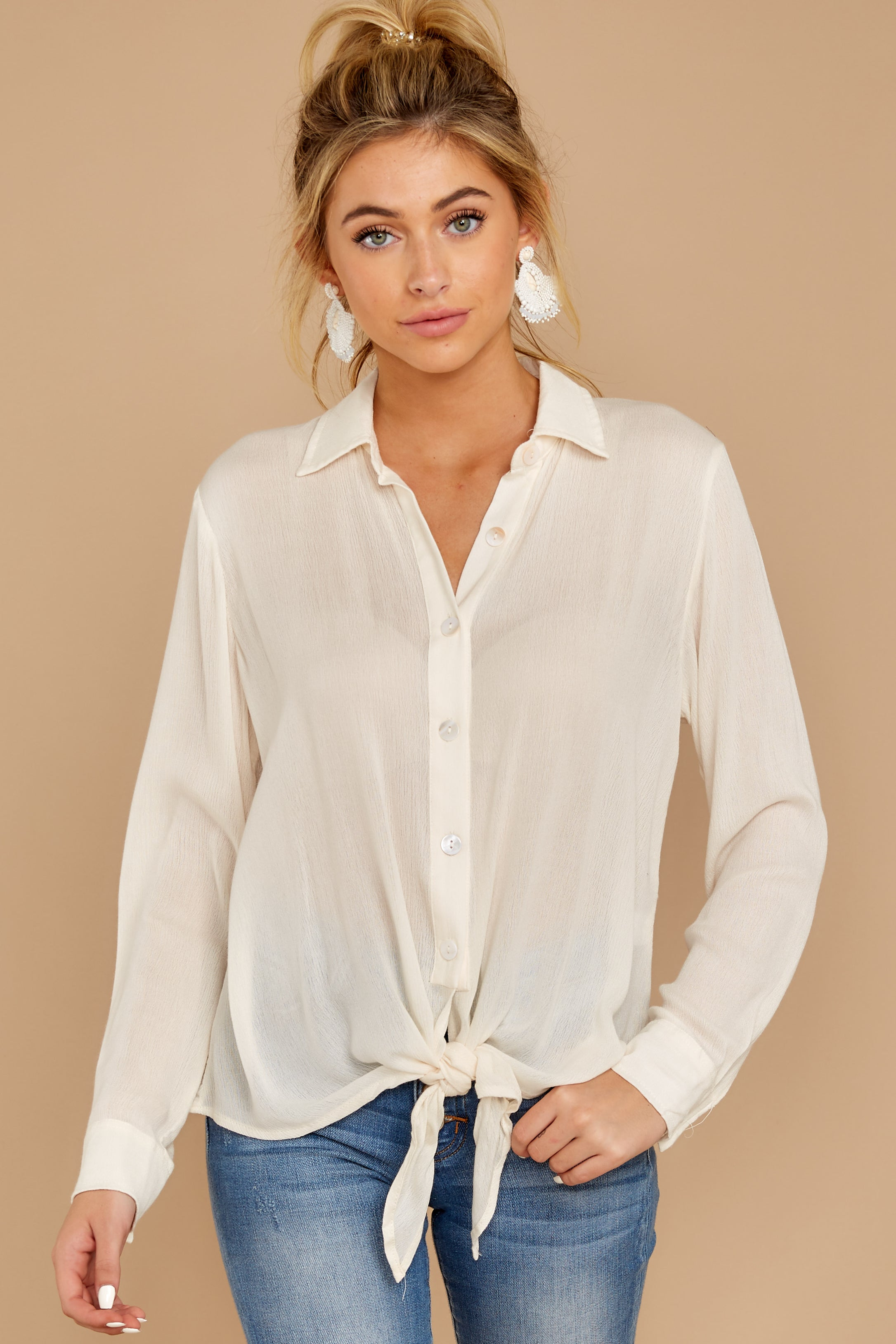 2 Mostly Focused Ivory Tie Top at reddressboutique.com