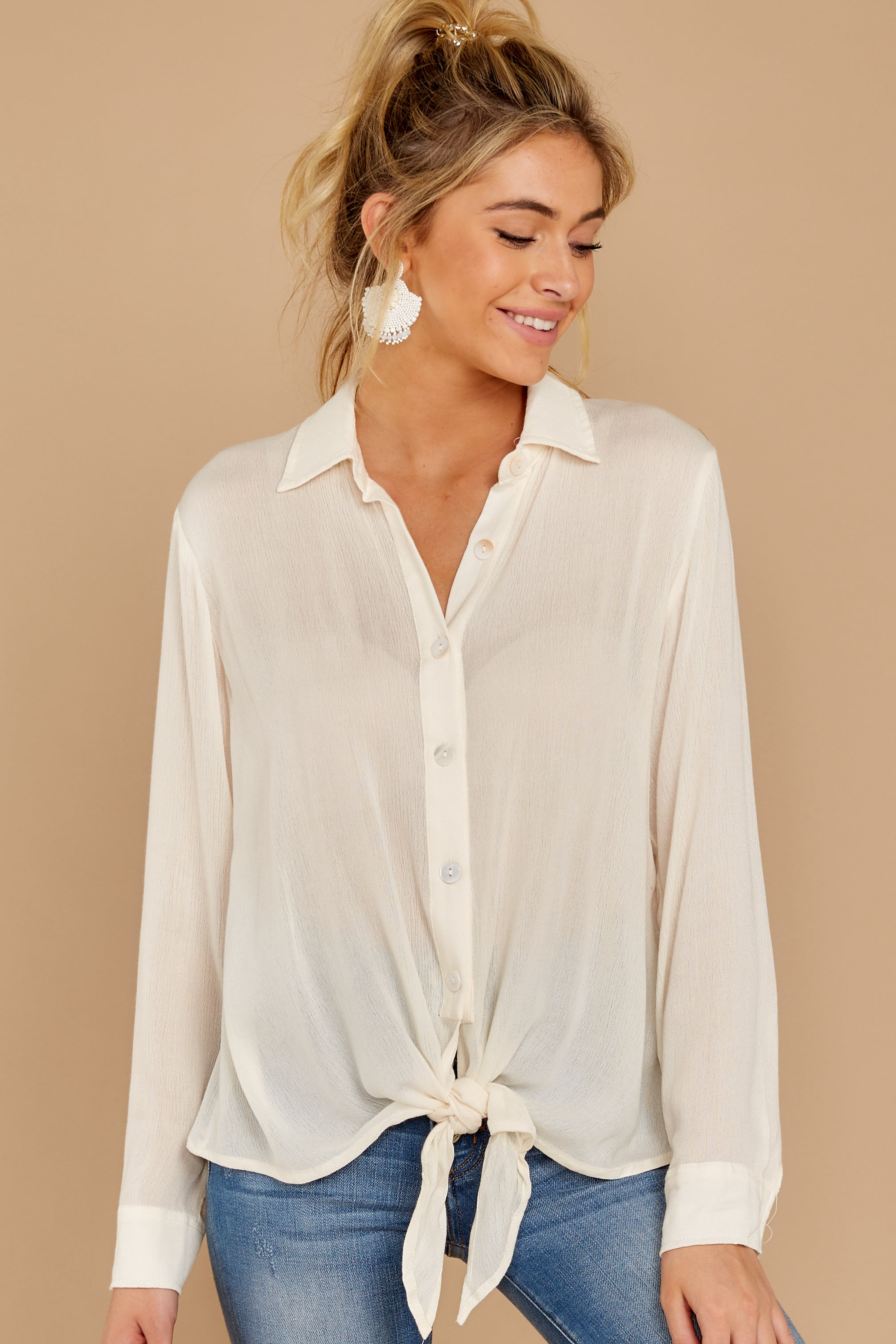 5 Mostly Focused Ivory Tie Top at reddressboutique.com