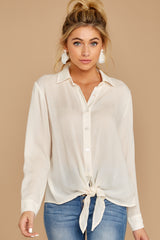 6 Mostly Focused Ivory Tie Top at reddressboutique.com