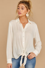 7 Mostly Focused Ivory Tie Top at reddressboutique.com