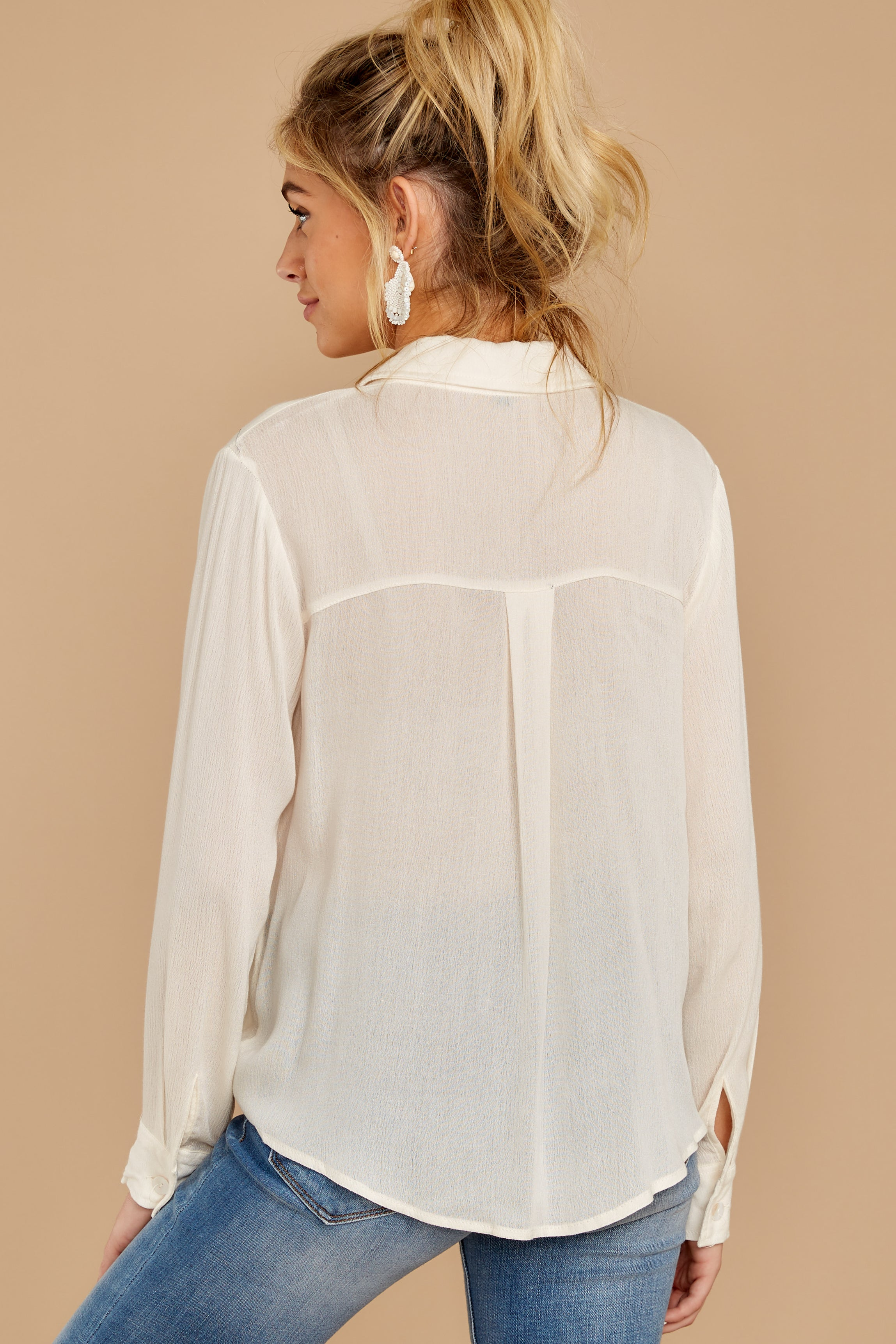 8 Mostly Focused Ivory Tie Top at reddressboutique.com
