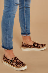 4 Going Anywhere Leopard Print Slip On Sneakers at reddressboutique.com