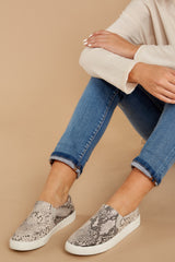 4 Follow The Beat Snake Print Slip On Sneakers at reddressboutique.com