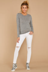1 The Heather Grey Triblend Long Sleeve Crew Tee at reddress.com