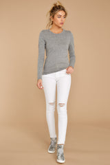 2 The Heather Grey Triblend Long Sleeve Crew Tee at reddress.com