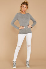 3 The Heather Grey Triblend Long Sleeve Crew Tee at reddress.com