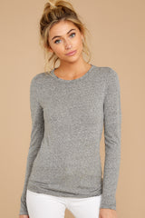 6 The Heather Grey Triblend Long Sleeve Crew Tee at reddress.com