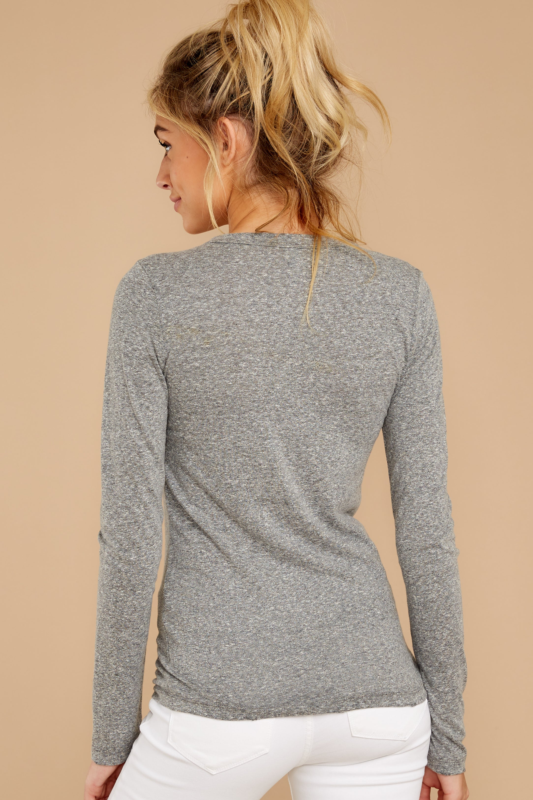 8 The Heather Grey Triblend Long Sleeve Crew Tee at reddress.com