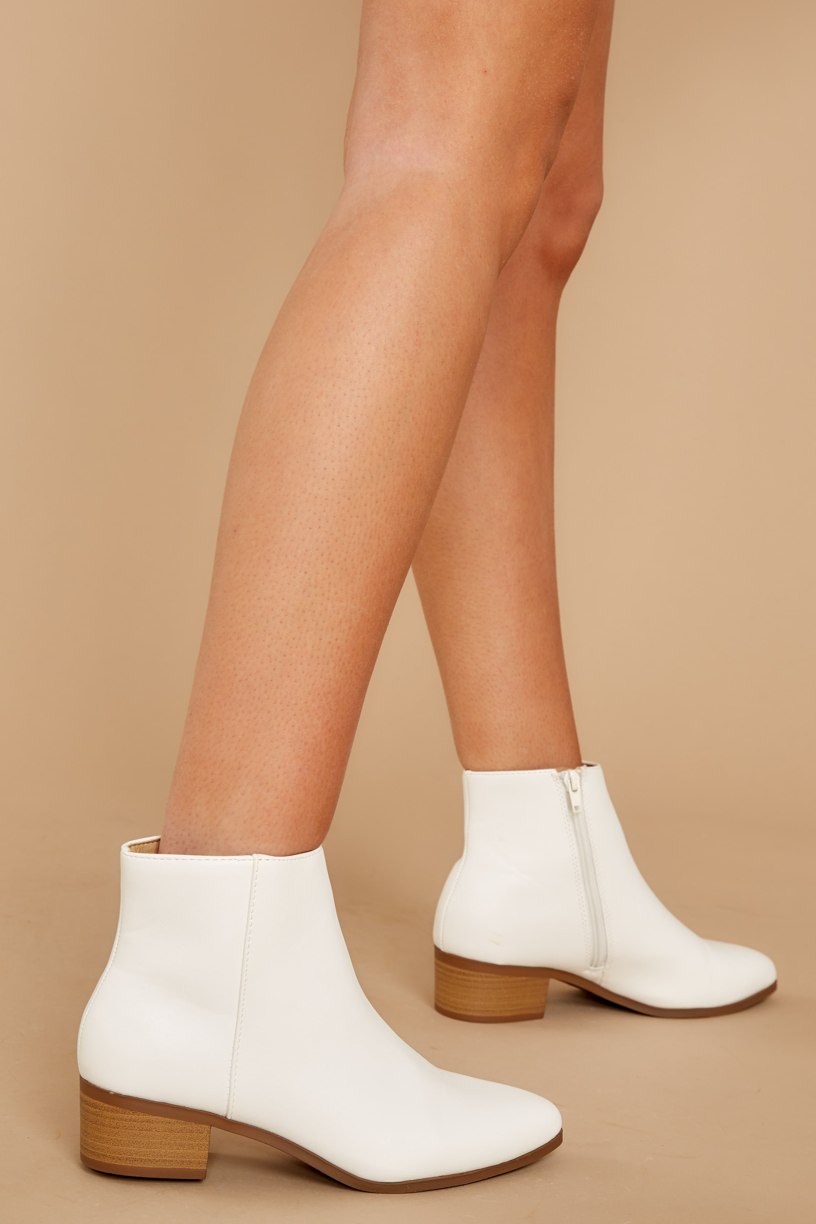 60s Shoes, Boots Chic Statement White Ankle Booties $34.00 AT vintagedancer.com