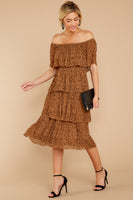 Tall Polyester Accordion Tiered Pleated Off the Shoulder Elasticized Waistline Animal Cheetah Leopard Print Midi Dress