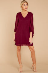 2 Claim To Fame Burgundy Dress at reddress.com