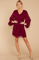 V-neck Short Shift Bishop Sleeves Sheer Polyester Dress