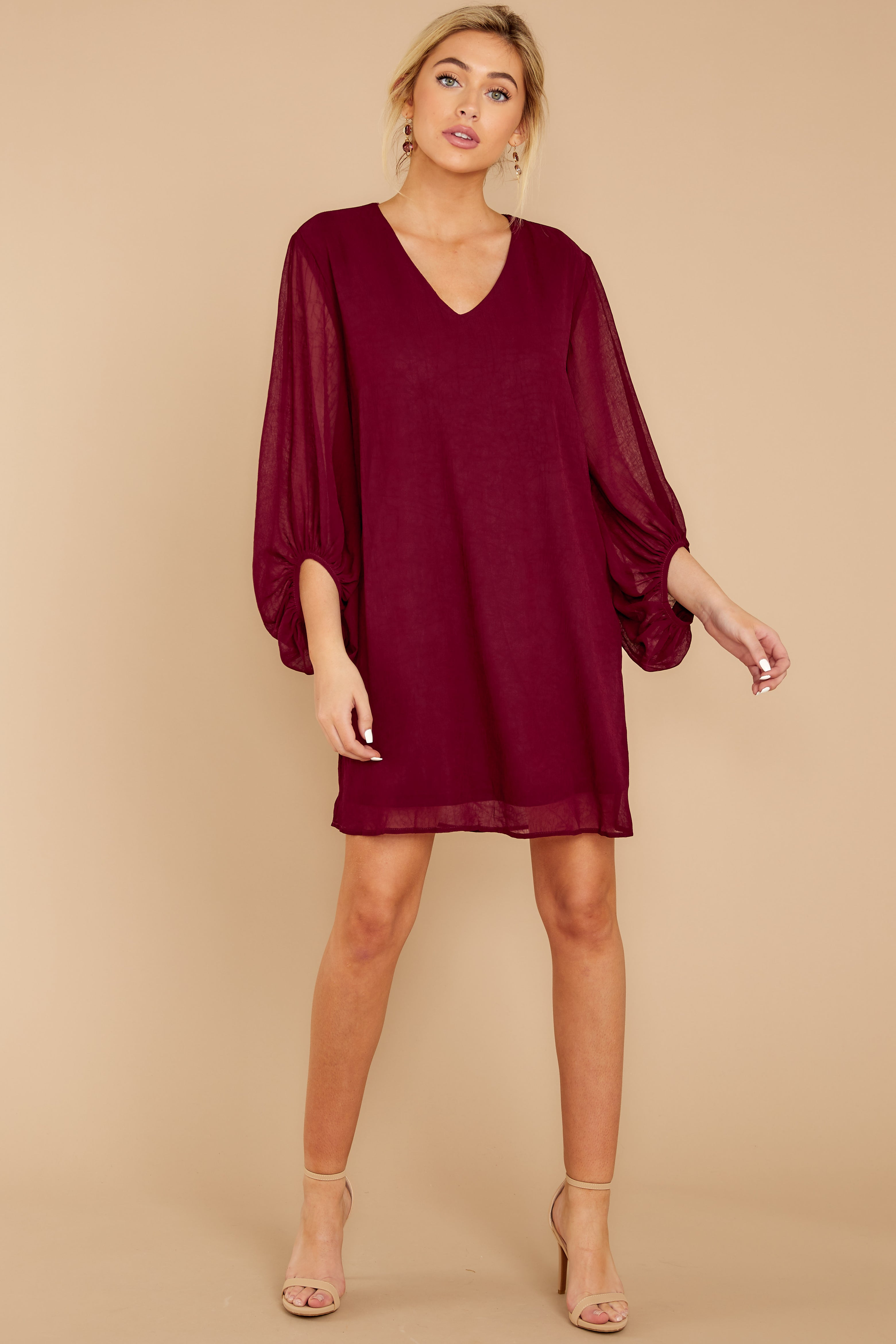 3 Claim To Fame Burgundy Dress at reddress.com