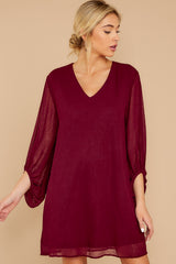 4 Claim To Fame Burgundy Dress at reddress.com
