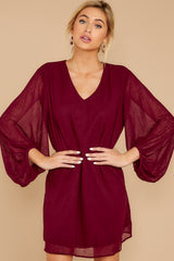 5 Claim To Fame Burgundy Dress at reddress.com