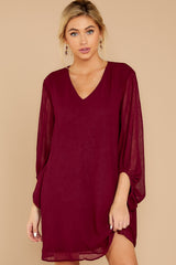 6 Claim To Fame Burgundy Dress at reddress.com