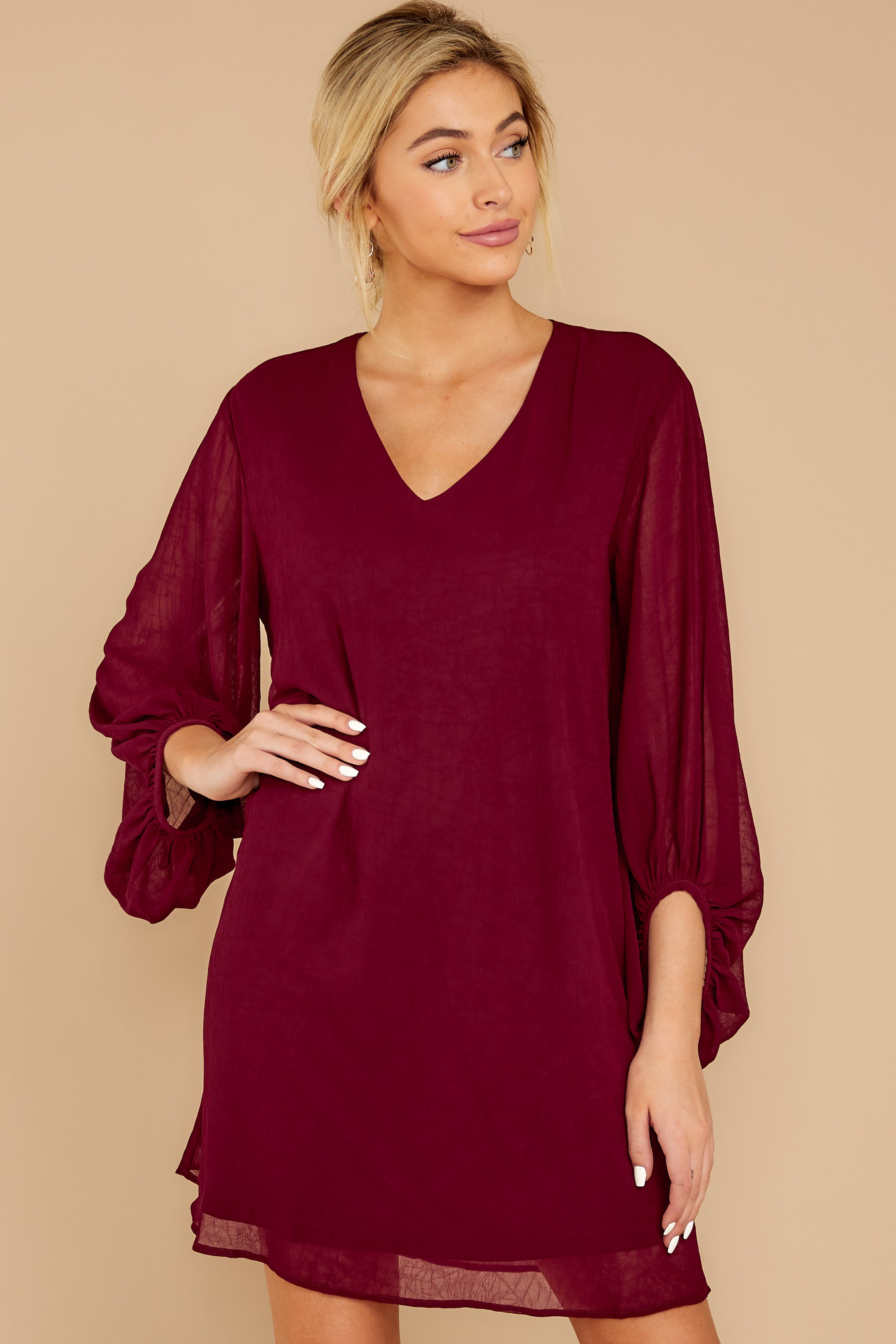 7 Claim To Fame Burgundy Dress at reddress.com