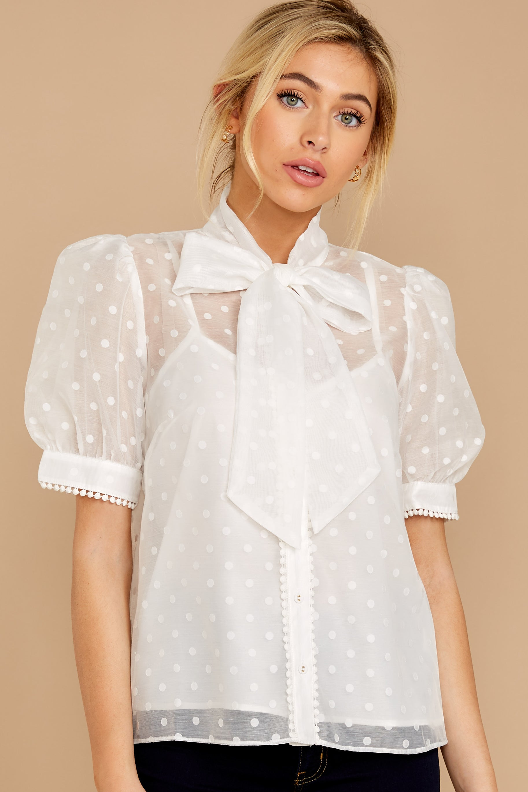 6 Timeless Ties White Polka Dot Top at reddressboutique.com