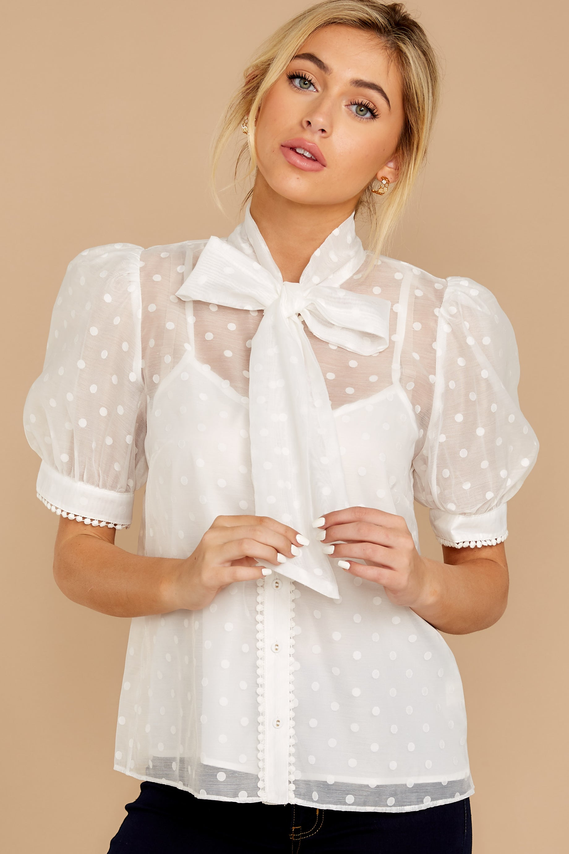 7 Timeless Ties White Polka Dot Top at reddressboutique.com