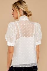 8 Timeless Ties White Polka Dot Top at reddressboutique.com
